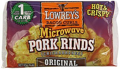 18 x Lowrey's Bacon Curls Microwave Original Pork Rinds 49 g, Low Carb