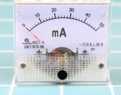 50mA DC Ammeter 0-50mA Analog Amp Panel Current Meter for CO2 Laser Machines UK