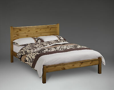 Hutton Wooden Bed Frame Square Headboard With Low Foot End 3FT 4FT 4FT6 5FT 6FT