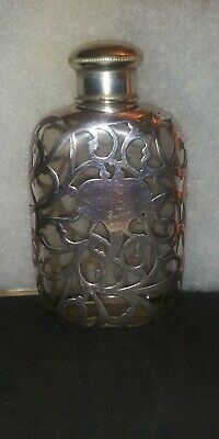 Antique Sterling Silver Heavy Overlay On Glass Flask