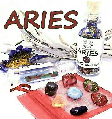 ARIES Zodiac Gift Set of Roller Bottle + Crystals + Incense ~ Astrology Wicca