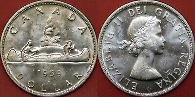 Brilliant Uncirculated 1959 Canada Silver 1 Dollar From Mint's Roll