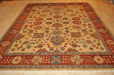 ON SALE Vegetable dye 8x10 Ft. Top Quality Persian rug beige background handmade