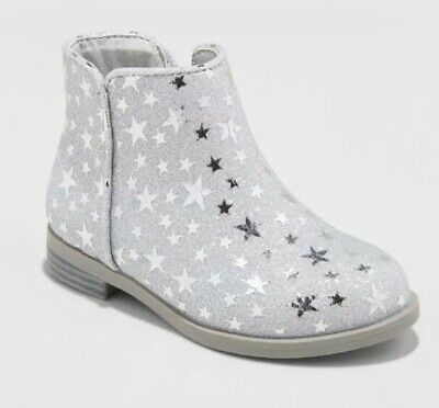 d4542b29b NEW - CAT & JACK Toddler Girl's Etoile Ankle Boots Silver With Sparkles ...