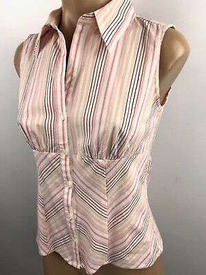 Xhilaration sleeveless button down fitted top shirt PINK stripe size small