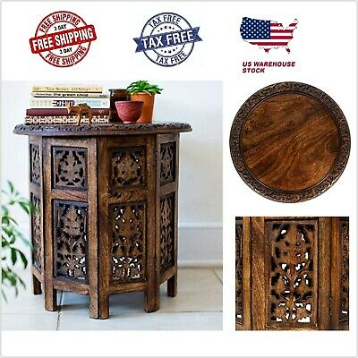 Antique Brown Coffee Round Table Solid Wood Hand Carved Accent 18 Inch Handcraft