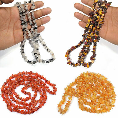 Natural Crystal Stone Chip Mala Necklace for Reiki Healing & Crystal Healing
