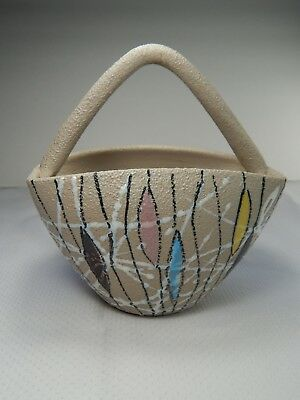 Fratelli Fanciullacci Mid-Century Modern Textured Pottery Basket Bowl. Italy