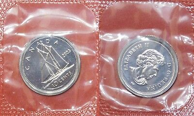 Proof Like 2003WP Canada Uncrowned 10 Cents Sealed in Cello