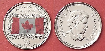 Brilliant Uncirculated 2015 Canada Flag Color 25 Cents From Mint's Roll