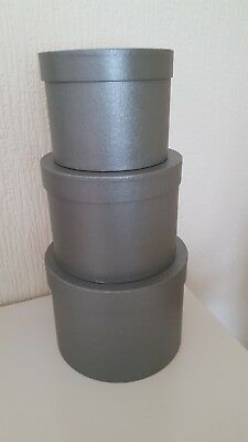 Hat Boxes Set Of Three In Grey Flower Box