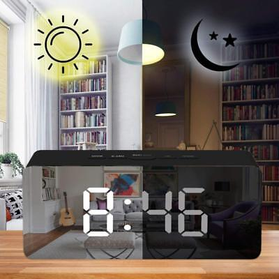 Alarm Clock Large Digital LED Display Portable Modern Battery Operated Mirror BS