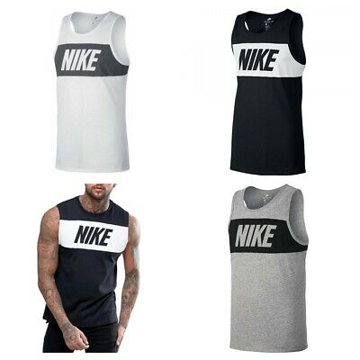 Nike Retro Logo Mens Vest Tops Sleeveless Gym Shirt Work out Cotton Tank