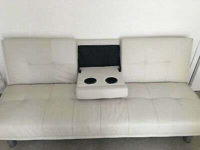 White Faux Leather Sofa Bed Modern 3 Seater