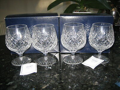 Stuart Crystal Shaftesbury Large 12 oz Brandy Glasses x 4 Signed Boxed Ex.Con