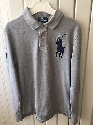 Older Boys Clothes - Grey Long Sleeve Polo Shirt By RALPH LAUREN 10-12 Yrs