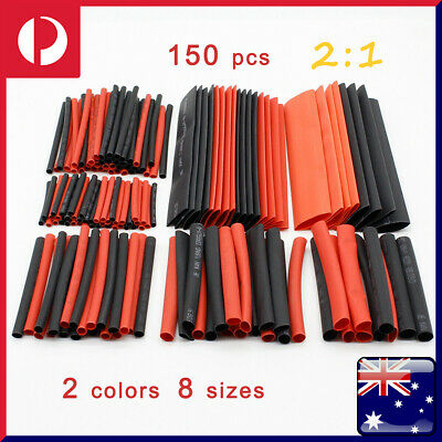 150PCS Heat Shrink Heatshrink Wire Cable Tubing Tube Sleeving Sleeve Wrap Kit AU