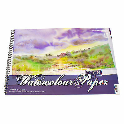 2 Pack A3 Watercolour Pads 12 Sheet 300gsm Textured Paper Art Painting Sketching