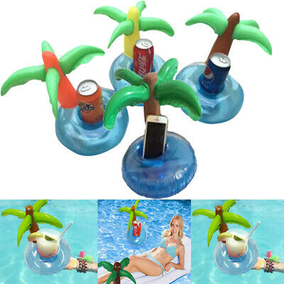 4Pcs Inflatable Palm Tree Island Drink Can Cup Holder Pool Bath Floating Toys