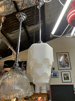 Stunning 5 Arm Milk Glass Light Shade & Chrome Fixture Ceiling Lights