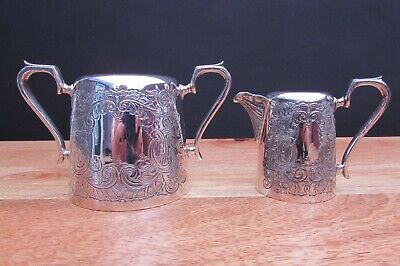 Antique Silver Plated Milk Jug And Sugar Bowl - J H Potter Sheffield Rd462194