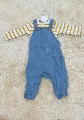 Seed Heritage Baby Boy Overalls & Body Suit Bundle Size - 00