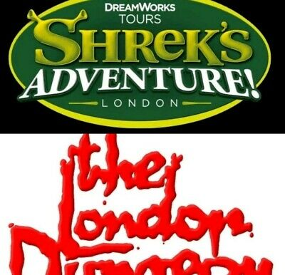 2 Shrek or London Dungeon Tickets  Unique Booking Code Pick Your Own Date & Time