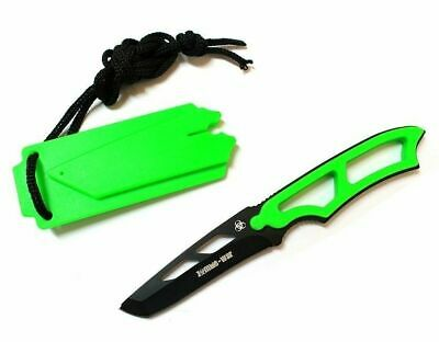 "NEW 6.5"" Green Tactical Hunting Knife Full Tang Blade w/ Whistle Sheath Zombie"