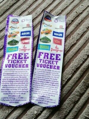 2 x Entry Ticket Voucher Merlin Entertainment Attractions Alton Towers Legoland