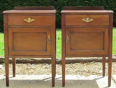 Pair of Inlaid Mahogany Bedside Cabinets Nightstands Side Cupboards