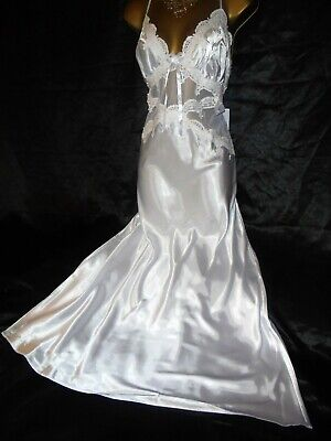 Stunning!!!!  silky satin nightie slip negligee gown  36 chest  bridal white