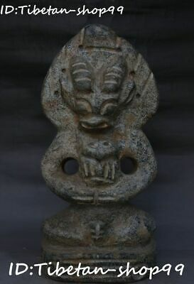 """13"""" China Hongshan Culture Old Jade Man People Ox Oxen Cattle Bull Beast Statue"""