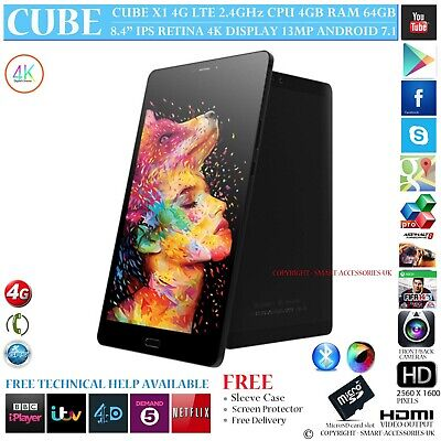"""Cube X1 4G Lte 4Gb Ram Deca Core Gps 64Gb 8.4"""" Retina Android 7 Phone Tablet Pc"""
