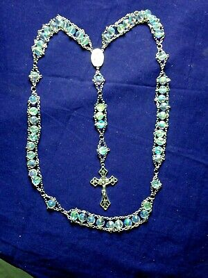 """CRYSTAL AB Frosted '' LADDER ROSARY"""" MM Center, STUNNING! - NEW"""