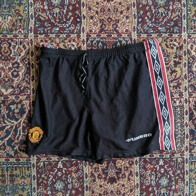 MEN'S MANCHESTER UNITED 1998/1999 HOME (VARIANT) SHORTS  M L 36 treble season