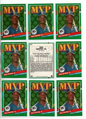 92bae6b3b0 KEN GRIFFEY JR 👀 9 CARD LOT 👀 9 1990 DONRUSS MVP #392 2ND YEAR