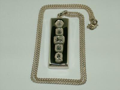 33 g LARGE INGOT PENDANT & CHAIN 1977 SOLID STERLING SILVER HALLMARKED 1.1 oz