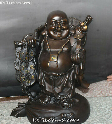 "16""Chinese Pure Bronze Wealth Money Coin Happy Laugh Maitreya Buddha Ruyi Statue"