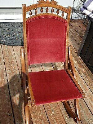 Antique Rocker Folding Chair Red Velvet Victorian sewing rocking chair good cond