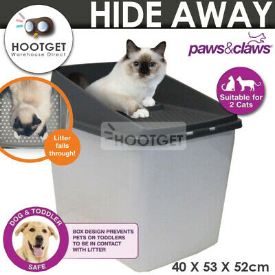 No Mess Top Entry Cat Litter Box Enclosed Covered Kitty Tray Toilet XL