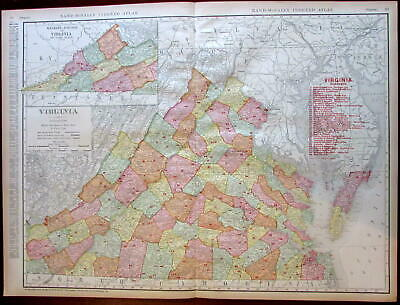 Virginia state by itself Railroads 1908 huge detailed Rand McNally map