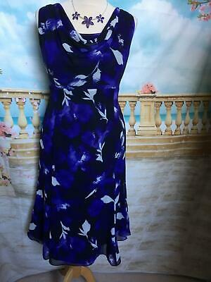 NEW Jacques Vert Dress Size 14/16 Floral Floaty Holiday Evening Wedding Cruise