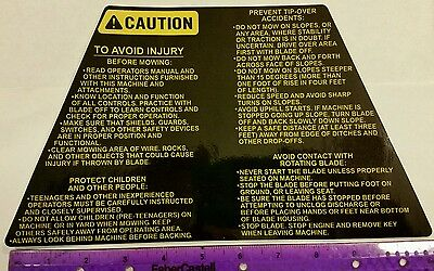 Reproduction snapper riding mower large operation caution safety deck decal.
