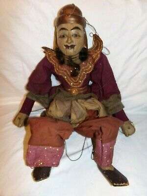 """Early 1800's Burmese Wooden Marionette String 30"""" Puppet Jointed Hand Made"""