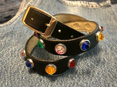 Womens Fashion Belt - Leather & Multi-Color Jewels - Made in USA - Size Medium