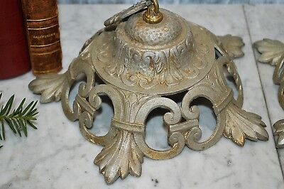 One Antique Silver Gilt Chandlier Light Fixture Support Mount 2 Available