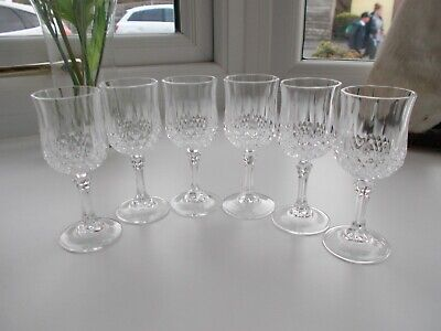 6 LONGCHAMP Cristal D'Arques Lead Crystal Sherry Glasses - 12.5cm tall