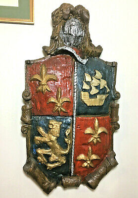Vtg 70s Coat of Arms Wall Sculpture Hanger Decor Knight Rampant Lion Medieval