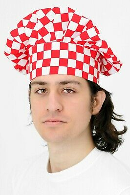 Chef's Cap ideal for Restaurant Professional Catering Butcher Red Checked Hat