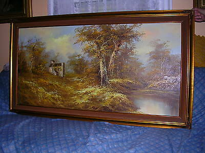 "H.gailey ""Signed"" Gorgeous Landscape Oil Painting On Canvas Frame: 54"" X 30"""